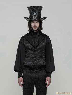 Black Gothic Gorgeous Jacquard Vest for Men