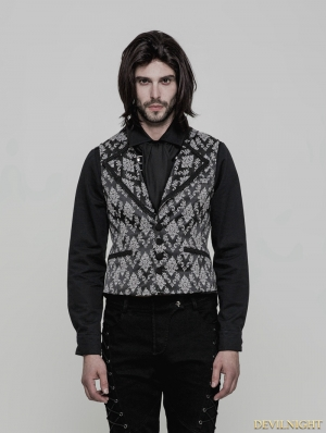 Black and White Gothic Gorgeous Jacquard Vest for Men