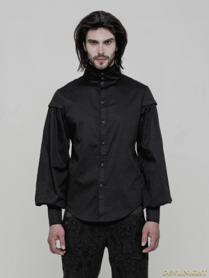 Black Gothic Vintage Gentleman Long Sleeve Blouse for Men