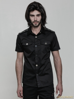 Black Gothic Punk Military Style Short Sleeve Shirt for Men