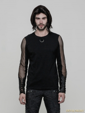 Black Gothic Punk Daily Long Sleeve T-Shirt for Men