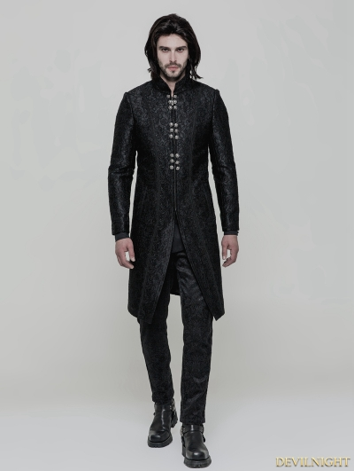 Black Vintage Gothic Gorgeous Jacquard Coat for Men