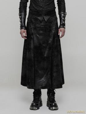 Black Gothic Punk Gorgeous PU Leather Split Skirt
