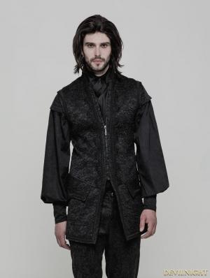 Black Gothic Vintage Victorian Gorgeous Long Vest for Men