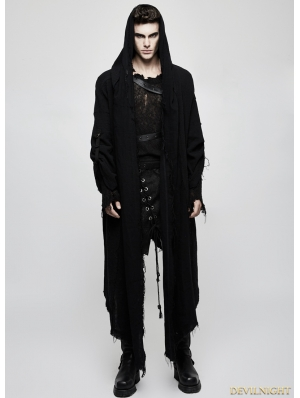 Black Gothic Punk Dark Death Cloak Coat for Men