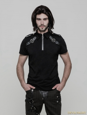 Black Gothic Punk Military Short Sleeves T-Shirt for Men