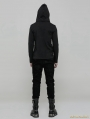 Black Daily Gothic Punk Hooded Long Sleeve Sweater for Men