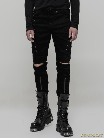 Black Gothic Punk Cowboy Trousers for Men
