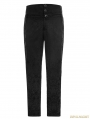 Black Gothic High Waist Jacquard Trousers for Men