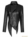 Black Gothic Punk Irregular Shaped PU Leather Jacket for Women
