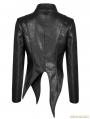 Black Gothic Punk Irregular Shaped PU Leather Jacket for Women