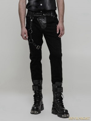 Black Men's Gothic Punk Trousers with Removable Loop