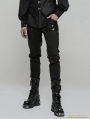 Green Men's Gothic Punk Trousers with Removable Loop