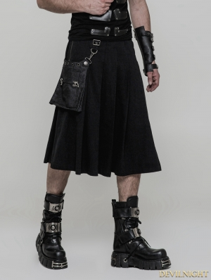 Black Gothic Punk Rock Pleated Half Skirt for Men