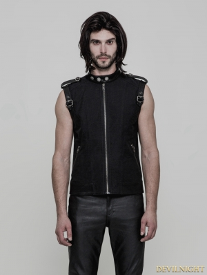 Black Gothic Punk Daily Vest for Men