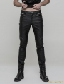 Black Gothic Punk Heavy Metal PU Trousers for Men