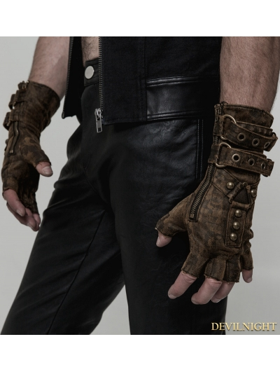 Coffee Steampunk Gloves for Men