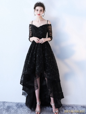 Black Gothic Lace Off-the-Shoulder High-Low Wedding Dress