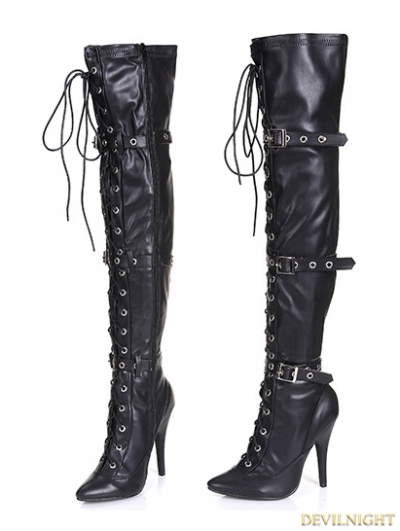 Gothic Punk High Heel PU Leather Over knee Lace up Boots