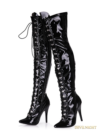 Black Gothic High Heel PU Leather Over knee Lace up Boots