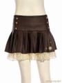 Coffee Steampunk Short PU Leather Pleated Skirt