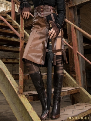 Coffee Steampunk Long PU Leather Skirt