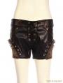 Black Steampunk PU Leather Shorts