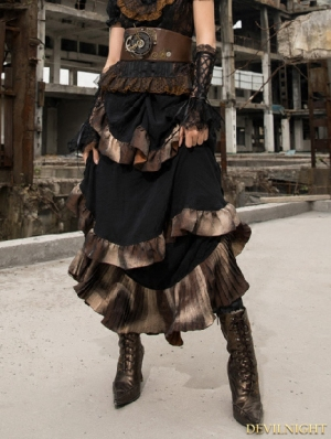 Black Steampunk Long Ruffles Skirt