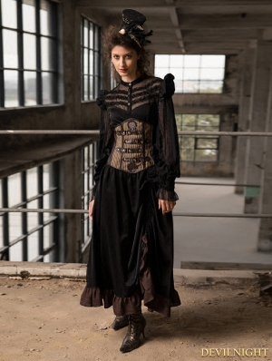 Black Steampunk Long Blouse Dress