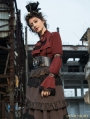 Red Women's Steampunk Blouse with Detachable Bowtie