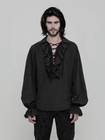 Black Steampunk Long Sleeve Shirt for Men