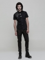 Black Gothic Punk Buckle Short Sleeves Shirt for Men