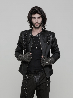 Black Gothic Punk Metal Short Jacket for Men