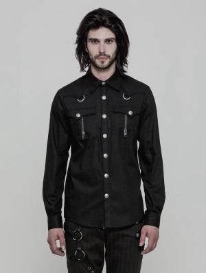Black Gothic Punk Military Style Long Sleeve Shirt for Men