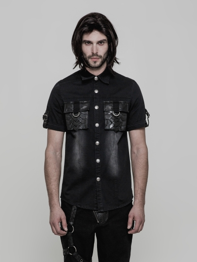 Black Gothic Punk Do Old Style Short Sleeve Shirt for Men