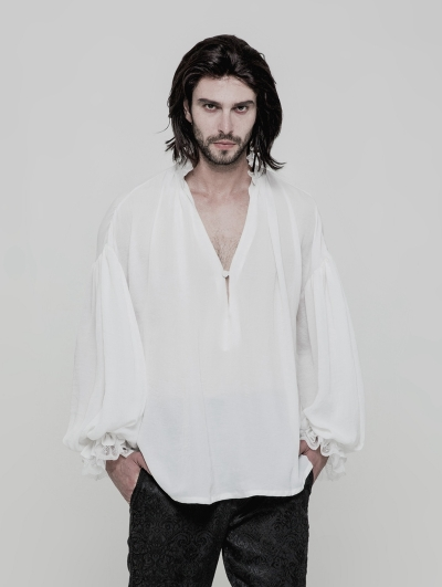 White Vintage Gothic Loose Shirt for Men
