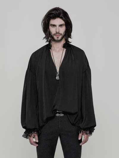 Black Vintage Gothic Loose Shirt for Men