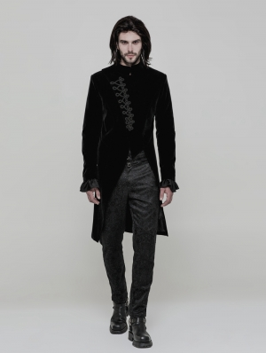 Black Vinatge Gothic Simple Three-quarter Coat for Men