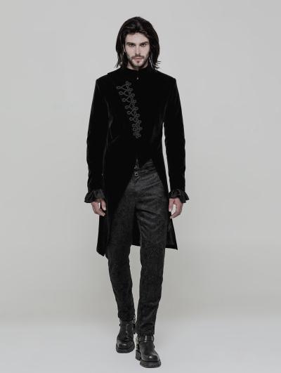 Black Vinatge Gothic Simple Three-quarter Coat for Men