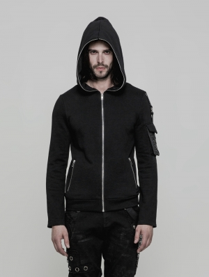 Black Gothic Punk Short Hooded Sweater for Men