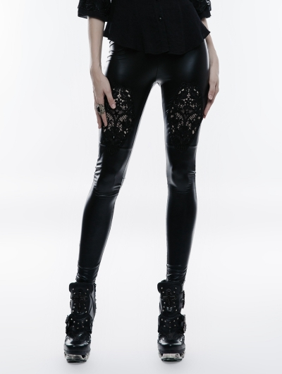 Black Lace Hollow-Out Gothic PU Legging for Women