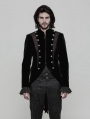 Black Velvet Vintage Gothic Double-Breasted Swallow Tail Jacket for Men
