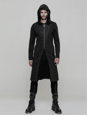Black Vintage Gothic Hooded Sweater for Men