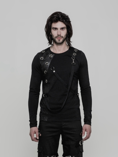 Black Gothic Punk Long Sleeves T-Shirt for Men