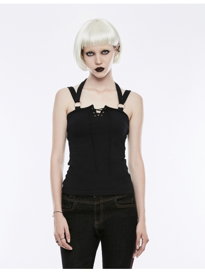Black Gothic Punk Off-the-Shoulder Camisole for Women