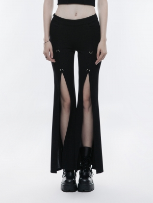 Black Gothic Punk High Split Pants for Women
