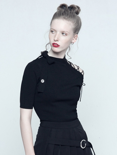Black Gothic Lace-up Short Sleeves Shirt for Women