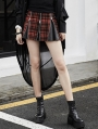 Gothic Punk Red Plaid Mini Zipper Skirt for Women