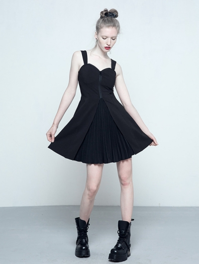 Black Gothic Chiffon A-Line Pleated Dress