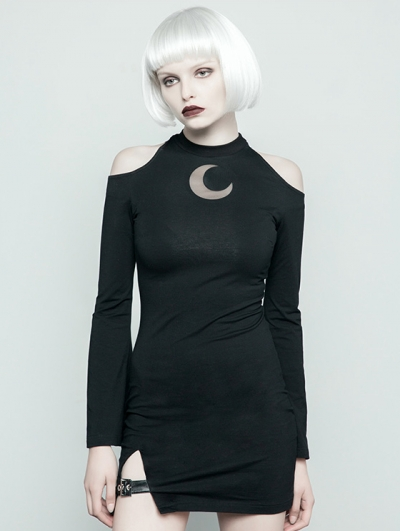 Black Gothic Punk Off-the-Shoulder Moon Pattern Sexy Mini Dress